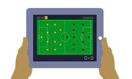 World Cup soccer on tablet. Watching soccer match on tablet Royalty Free Stock Image
