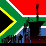 World Cup In South Africa 2010. Illustration of the flag of the Republic Of South Africa behind a crowd going to a football match for the 2010 World Cup vector illustration