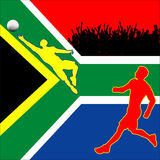 World Cup In South Africa 2010. Illustration of the flag of the Republic Of South Africa with a player scoring a goal at the 2010 World Cup stock illustration
