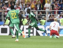 World Cup in  Spartak Stadium. MOSCOW, RUSSIA - June 19, 2018: Senegal celebrates after scoring a goal during the World Cup Group H game between Poland and Royalty Free Stock Photo