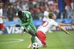 World Cup in  Spartak Stadium. MOSCOW, RUSSIA - June 19, 2018: Senegal celebrates after scoring a goal during the World Cup Group H game between Poland and Royalty Free Stock Photography