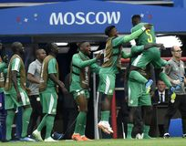 World Cup in  Spartak Stadium. MOSCOW, RUSSIA - June 19, 2018: Senegal celebrates after scoring a goal during the World Cup Group H game between Poland and Stock Photo