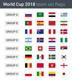 World cup 2018 team flags. Groups of championship cup 2018 in Russia Royalty Free Stock Photos