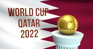 World Cup text and golden soccer ball in front of Qatar flag stock illustration