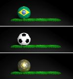 World cup. Three banners with 2014 Mundial theme ball and grass on black background Stock Photo