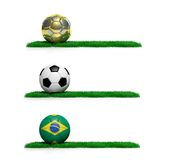 World cup. Three banners with 2014 Mundial theme ball and grass on white background Stock Photography