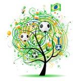 The world cup tree, brasilian flag Stock Photography