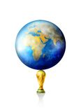 World cup trophy. Planet and world cup soccer trophy on white background stock illustration