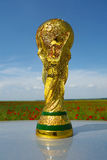 World cup trophy. Photographed above a poppies field Royalty Free Stock Images