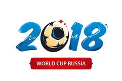 World Cup 2018 Vector. Illustration. Alternative logo for 2018 football world cup. Brush painted 2018 with abstract soccer ball shape Stock Image