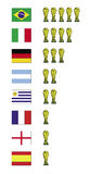 World cup winners. Abstract illustration with flags of countries winner of the World Cup and trophy Stock Photography
