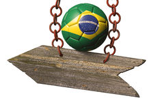 World cup. Wooden sign on chain with Brazilian soccer ball, Mundial concept on white Royalty Free Stock Photos