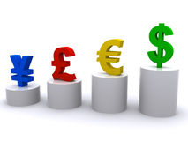 World currencies. Four world currencies standing on the columns Royalty Free Stock Photography