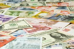 World currencies. Currency notes of various countries Royalty Free Stock Image