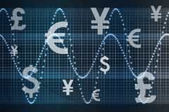 World Currencies Business Abstract Background. Futuristic World Currencies Business Abstract Background Wallpaper Stock Images
