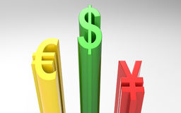 World Currencies 3d rendering Royalty Free Stock Photos