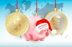 World currencies Dollar, Euro and Bauble chinese new year symbol pig on ribbons on world map background. Merry Christmas and Happy. New Year congratulation on royalty free illustration