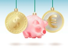 World currencies Dollar, Euro and Bauble cute chinese new year symbol pig on green ribbons. Conceptual Realistic vector illustrati. On vector illustration
