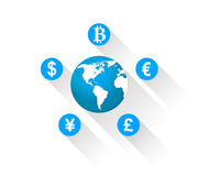 World currencies icons. Around map of world Stock Photo