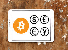 World currencies icons with cryptocurrency bitcoin. Vectors and icons of most famous global currencies like dollar, euro, pound, yen with digital cryptocurrency Stock Image