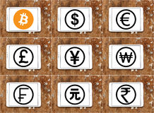 World currencies icons with cryptocurrency bitcoin. Vectors and icons of most famous global currencies like dollar, euro, pound, yen, franc with digital Stock Photo