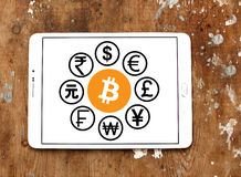 World currencies icons with cryptocurrency bitcoin. Vectors and icons of most famous global currencies like dollar, euro, pound, yen, franc moving around digital Stock Photography