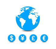 World currencies icons. Under map of world Stock Image