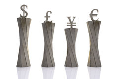 World currencies put on pedestals Royalty Free Stock Image