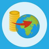 World currencies flying above the globe. Vector illustration. World currencies represented by coins flying above the globe. Vector illustration Stock Photo