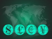 World currencies on world map. Abstract background with major global currencies on a green blackboard. Pound, Yen, Euro and US dollar Stock Photo