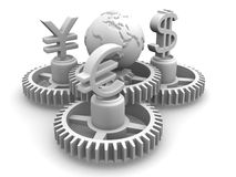 World currency. 3d Very beautiful three-dimensional illustration Stock Photo