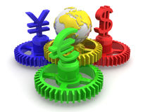 World currency. 3d Very beautiful three-dimensional illustration Stock Image