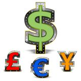 World Currency. Most common currencies of the world, decorated with diamonds in a shiny luxury frame Stock Photography