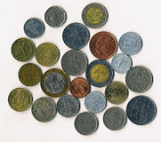 World currency. Numismatic collection - many metal coins of different countries Royalty Free Stock Image