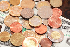 World Currency Background. Financial concept. Various world currency closeup as background Stock Image