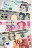 World currency banknotes. Original macro photo yen, currency from the world, europe, japan, china, united states, united kingdom Stock Photos
