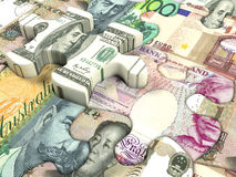 World currency. Concept background for exchange rate of world currency Royalty Free Stock Photography