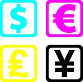 World currency, dollar, euro,. Pound, yen in 4 colors Stock Photo