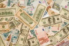 World currency - Dollars, euros, roubles of Russia Royalty Free Stock Photos