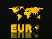 World currency, Euro. With world map in background. Illustration. Copy space and clipping path Royalty Free Stock Photos