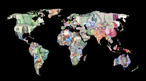 world currency map Stock Photography