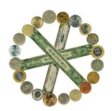 World currency movement. Money wheel. Stock Photos