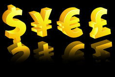 World currency signs Stock Photos