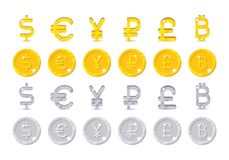 World currency signs and coins. Big vector set symbols of money and gold and silver icons - dollar, euro, yen, ruble, pound, bitcoin isolated on white Royalty Free Stock Photos