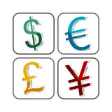 World currency symbol  icon. With perspective for your creative design Stock Photos