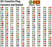 World currency icon and symbols. World currency symbols, currencies name and flag of 201 counties in  illustration Stock Images