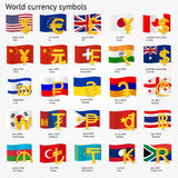 World currency symbols with flag icon set.  Money sign icons with national flags. Vector illustration. Stock Image