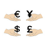 World Currency symbols flat  icons isolated on white background. Dollar, Euro, Pound Sterling, Yen.Vector illustration Stock Photos