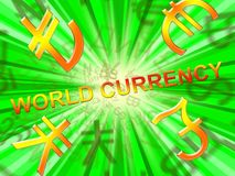 World Currency Means Global Rates 3d Illustration. World Currency Symbols  Means Global Rates 3d Illustration Stock Photos