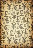 World Currency Symbols on Retro Vintage Paper. Stock Image